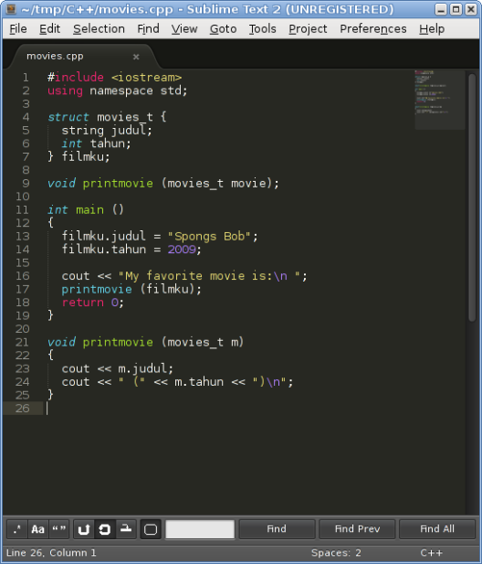 Sublime Text: C++